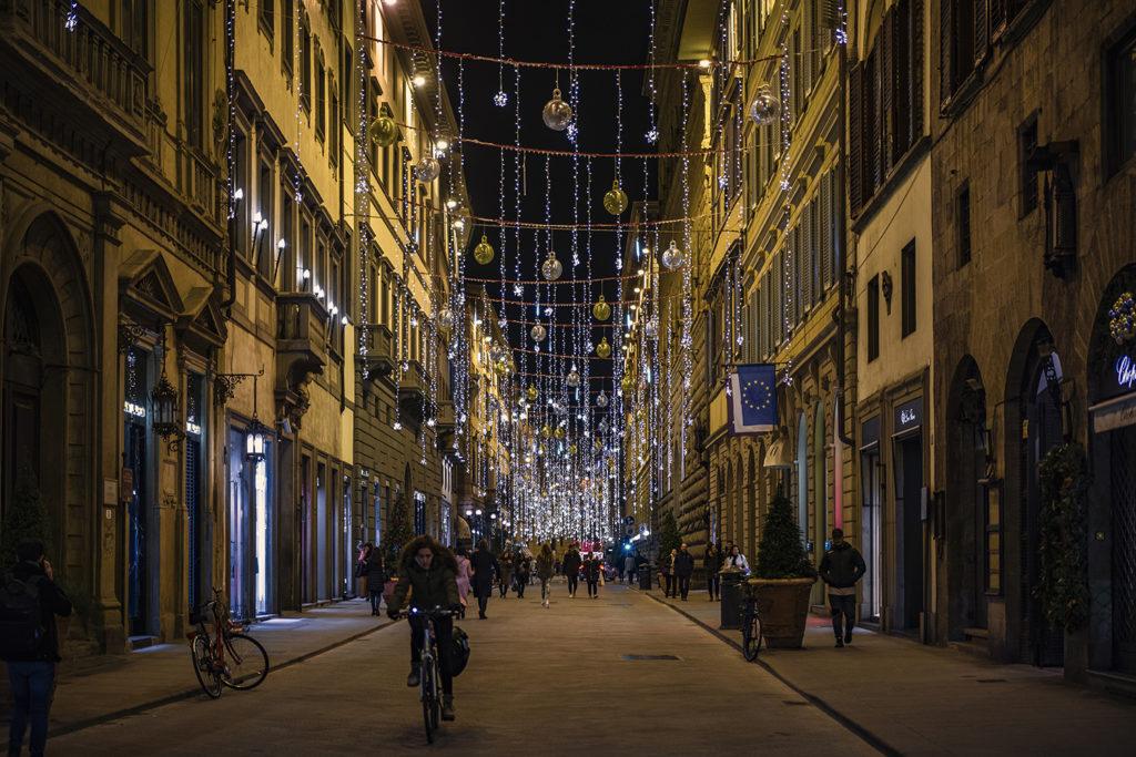 Florencia vianočne vyzdobená